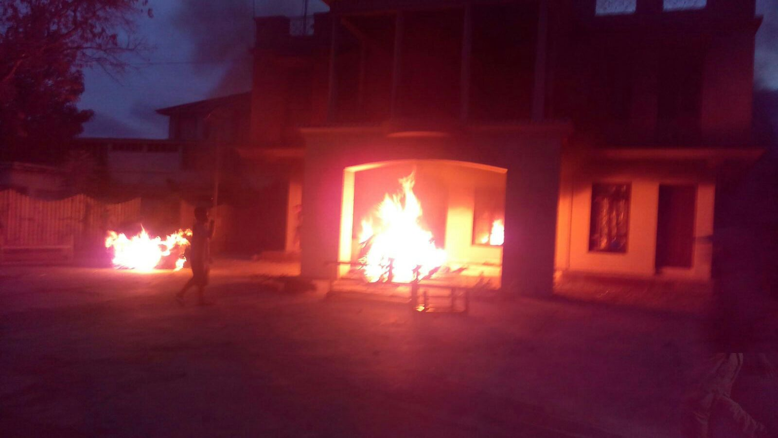 Residence of Tribal Hill Ministers and MLAs burned by angry protesters